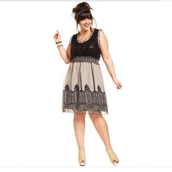 American Rag Dresses Rag Plus Size Sequined Borderprint Dress